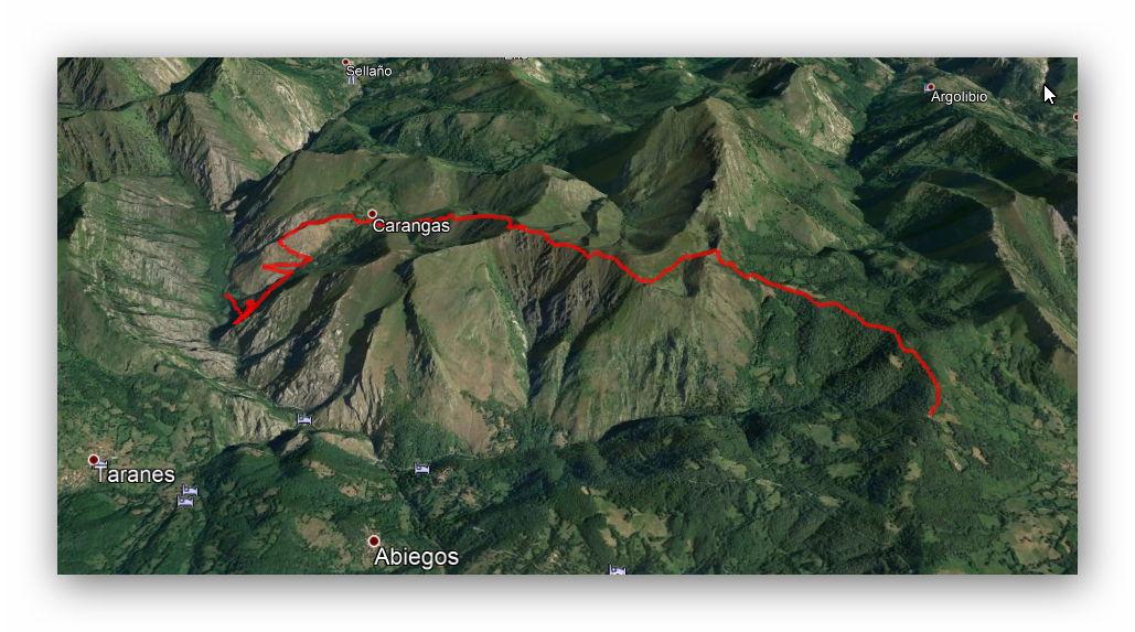 10 junio, 2018: Collada Llomena - Cruz de Valdoré (Google Earth)