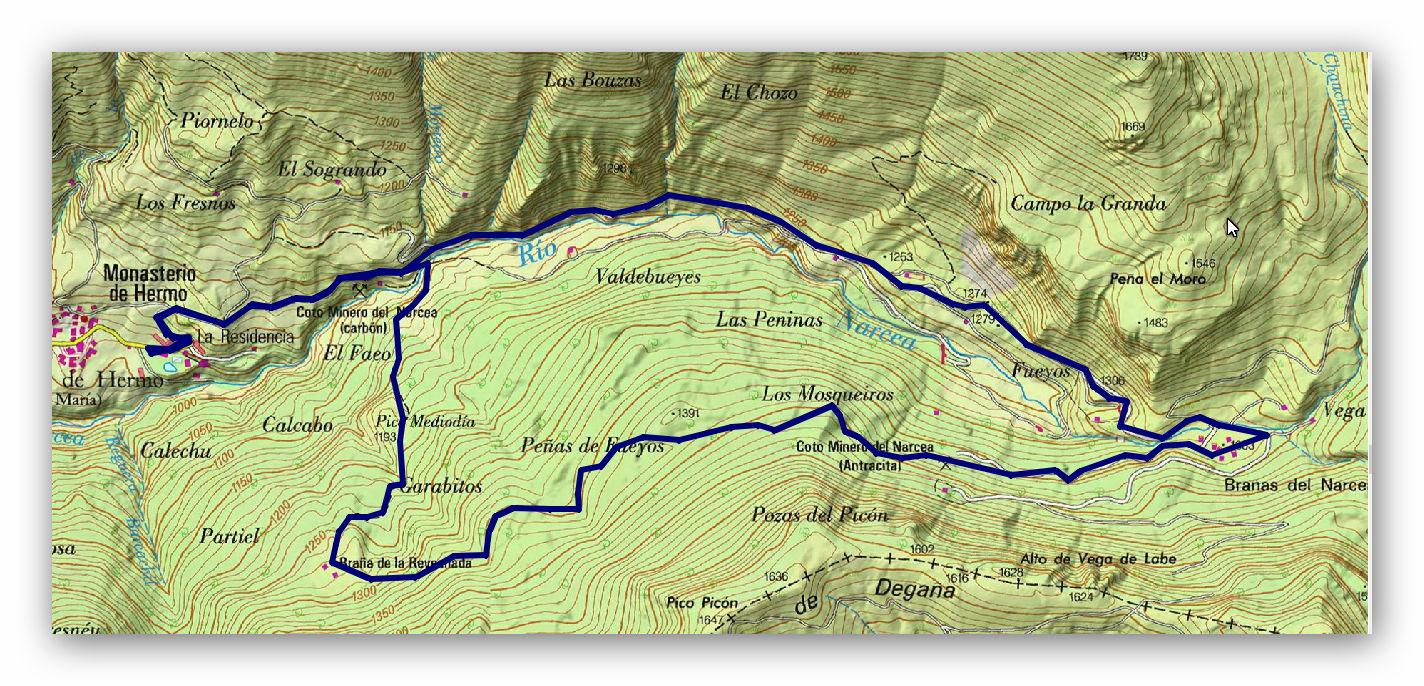 30 sepriembre, 2018: Monasterio de Hermo - Fuentes del Narcea (Wikiloc / IGN)