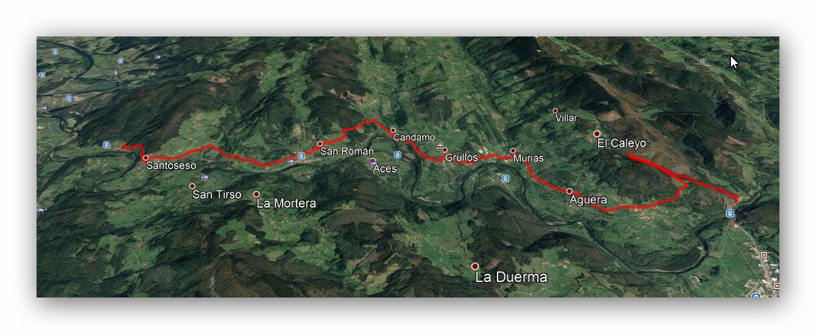 2 diciembre, 2018: Candamo: Ruta del Nalón (Beifar - Peñaflor) (Google Earth)