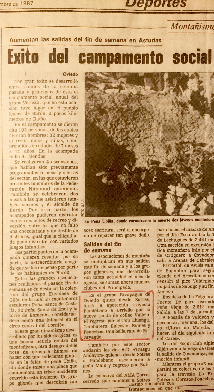 13 septiembre, 1987: Sotres - Pandébano - Collau Vallejo - Vega de Urriello (recorte de periódico)