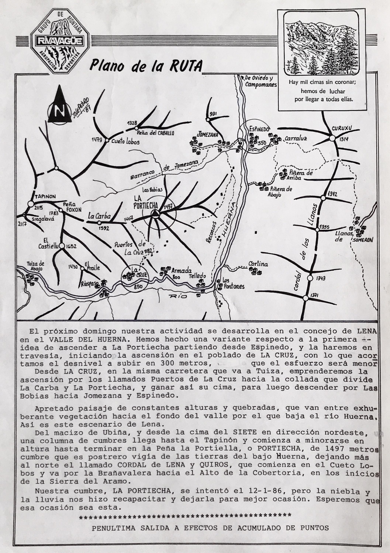 8 noviembre, 1987: La Cruz - Peña La Portiecha - Espinedo