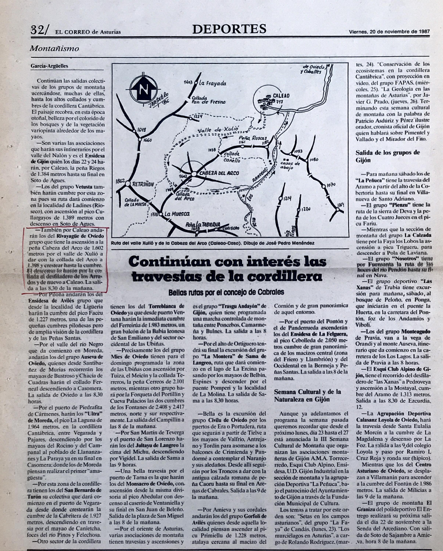 22 noviembre, 1987: Caleao - Valle de Xulio - Cabeza del Arco - Los Arrudos - Caleao