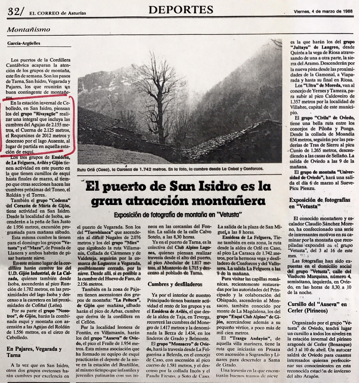6 marzo, 1988: Roldán - Cuerna - Requejines - Lago Ausente