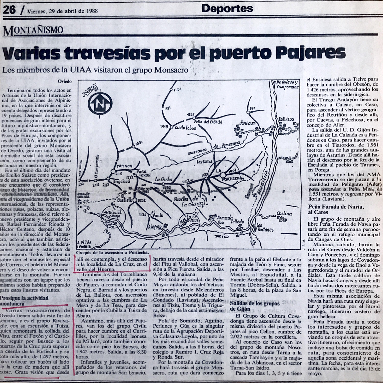 1 mayo, 1988: Tuiza de Abajo - Peña La Portiecha - La Cruz