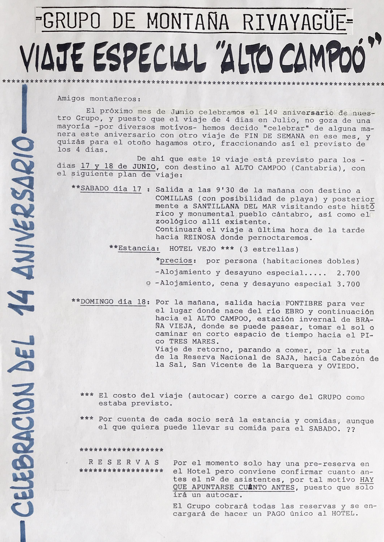17 y 18 junio, 1989: 14 aniversario, Alto Campoo