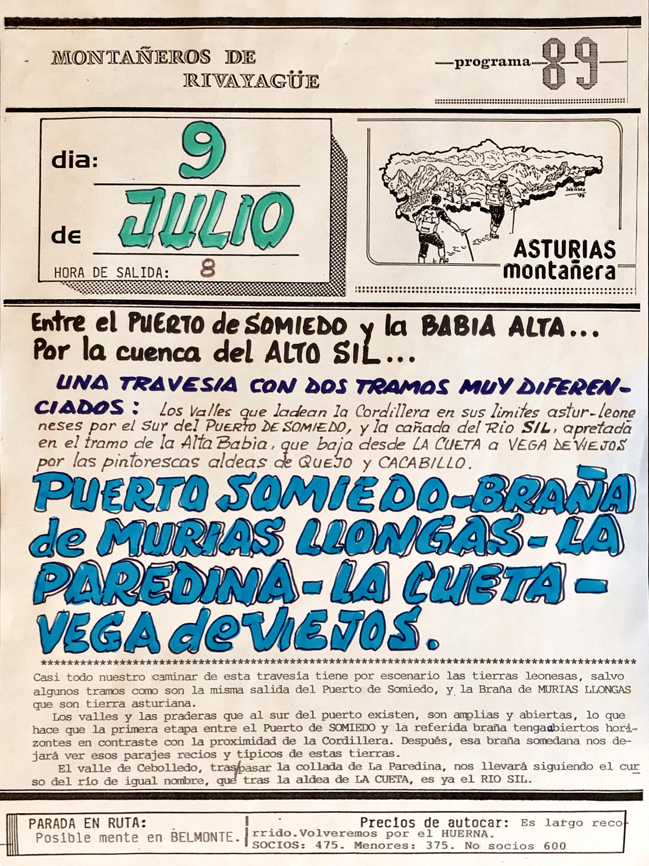 9 julio, 1989: Travesía Puerto de Somiedo - Vega de Viejos