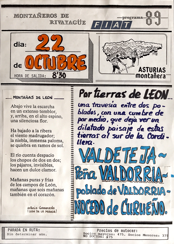 22 octubre, 1989: Peña Valdorria