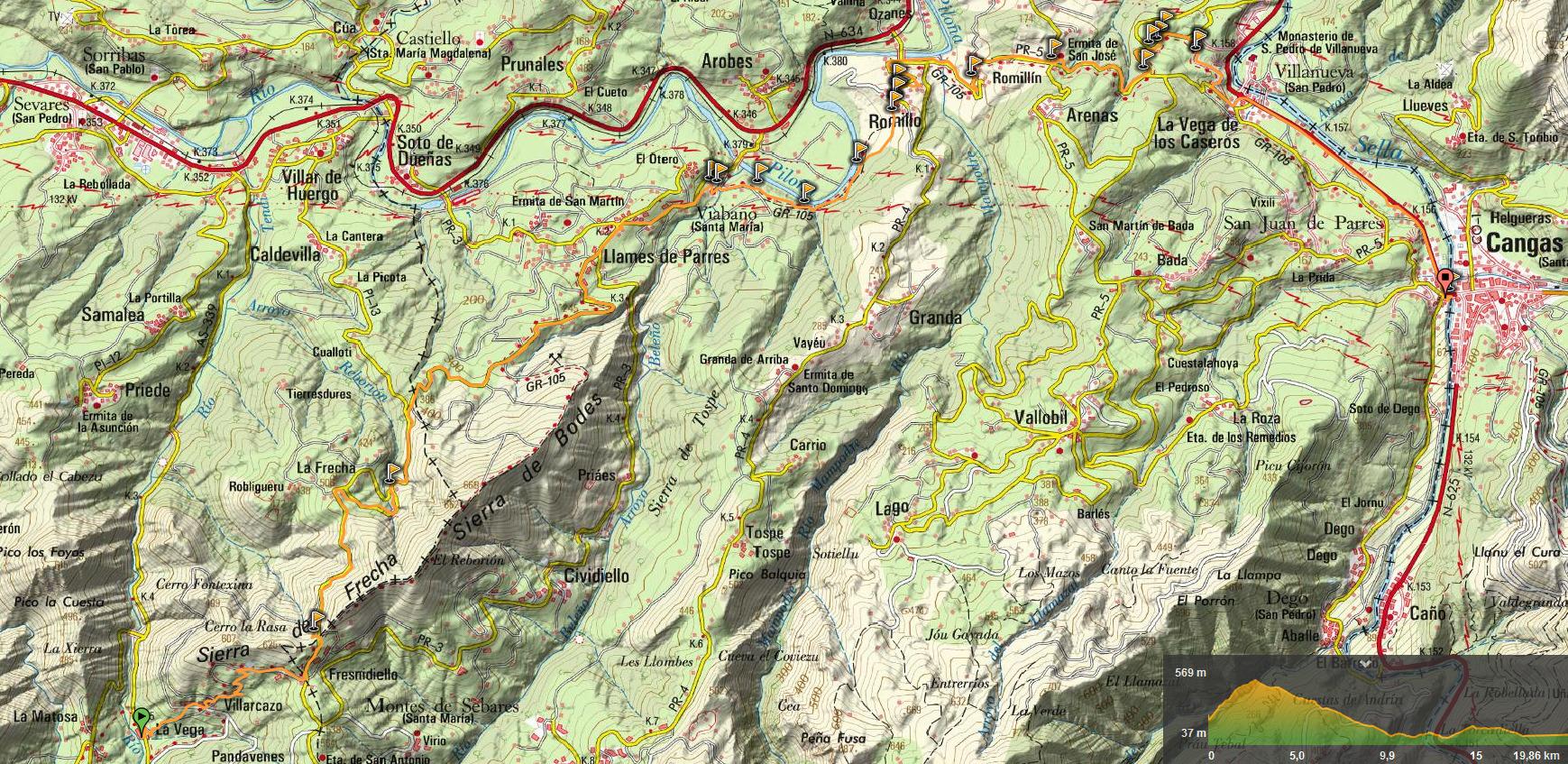 25 mayo, 2019: Oviedo - Covadonga 6ª etapa (La Matosa - Cangas de Onís) (Wikiloc / IGN)
