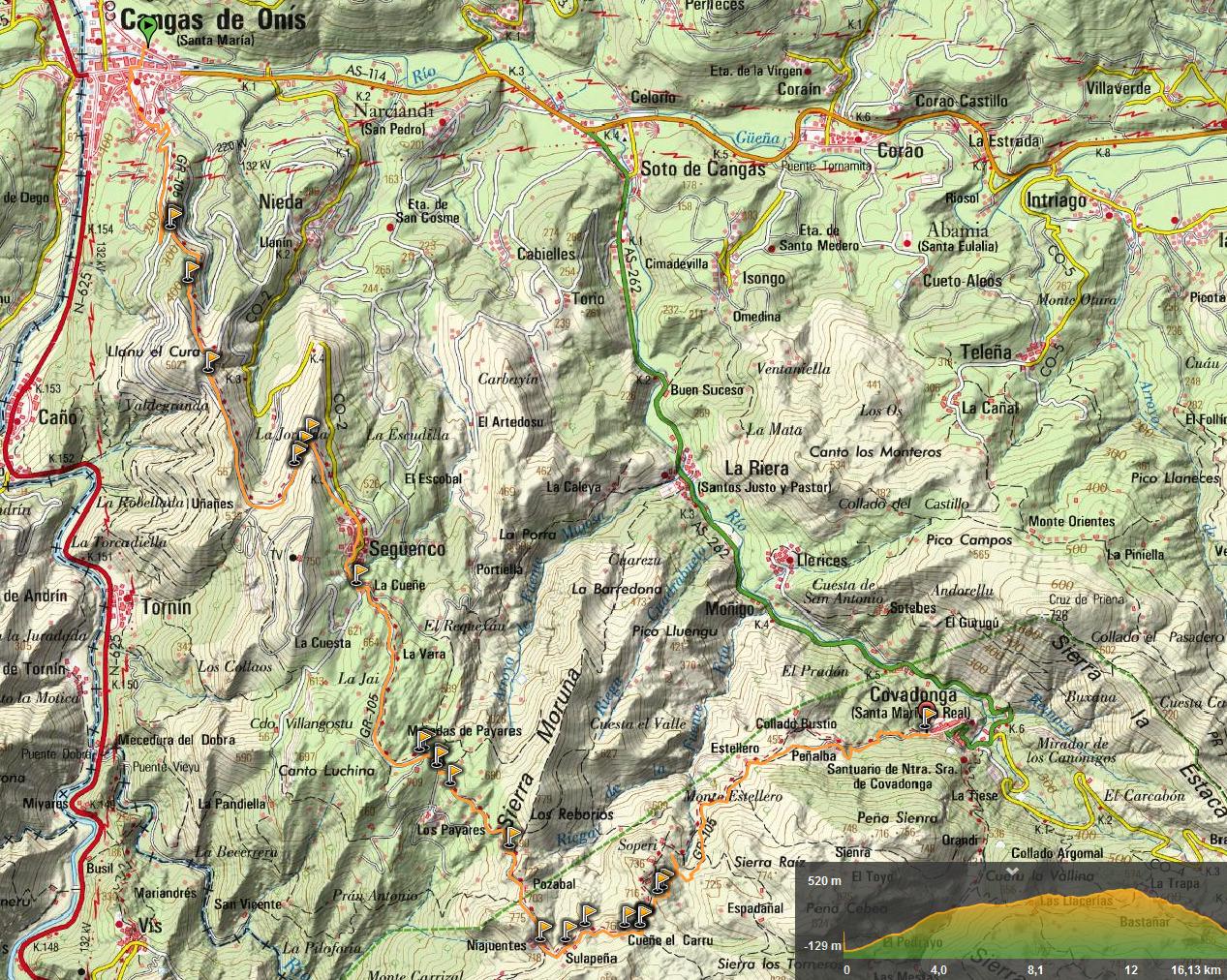23 junio, 2019: Oviedo - Covadonga 7ª etapa (Cangas de Onís - Covadonga) (Wikiloc / IGN)