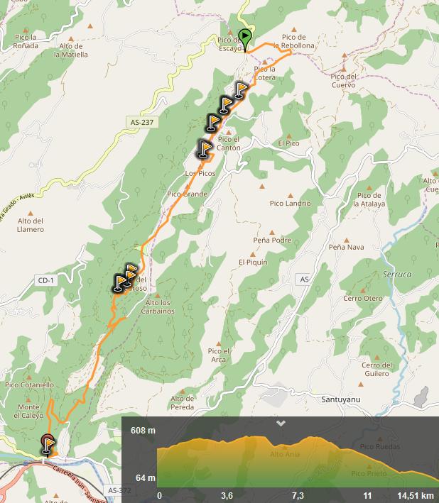 7 diciembre, 2019: La Reigada – Peñaflor (Wikiloc / OpenStreetMap)